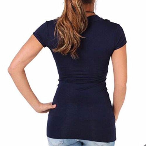 QIYUN.Z Las Mujeres De Manga Corta Plisada Remiendo De La Manera Ocasional Del Bodycon Camisas De Las Camisetas Negro