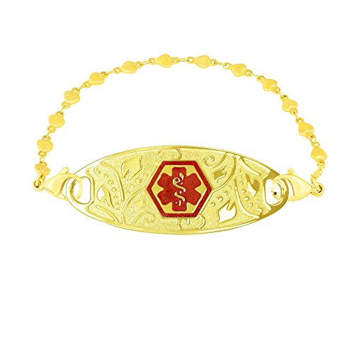Divoti Custom Engraved PVD Gold Lovely Filigree Medical Alert Bracelet for Women -PVD Gold Heart Link-TP Red-7.5'' by Divoti
