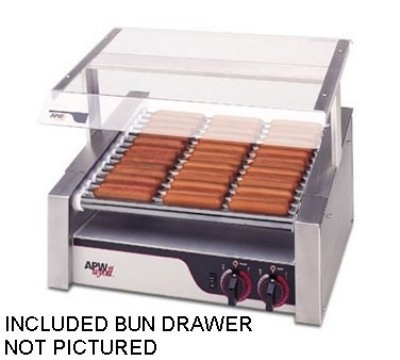 APW Wyott HR-31SBD 510 Hot Dog (Per Hour) & 100 Bun Capacity (10) Slanted Chrome Surface Rollers XPERT HotRod Hot Dog Grill With Bun Drawer