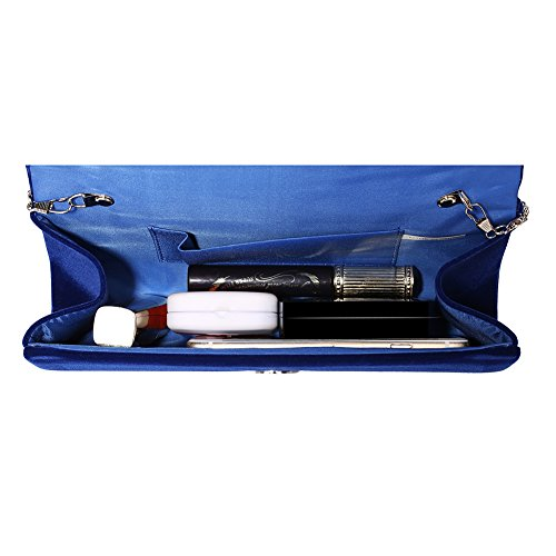 Bag Evening Clutch Body Wedding Retro Jubileens Handbag Party Envelope Velvet Cross Blue WHZnqX