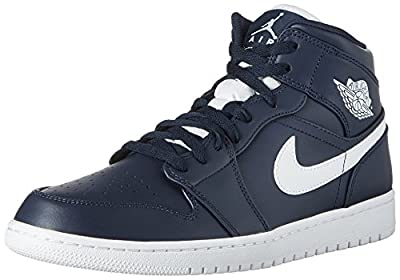 Jordan Nike Men's Air 1 MID Obsidian/White 554724-402 (Size: 10.5)