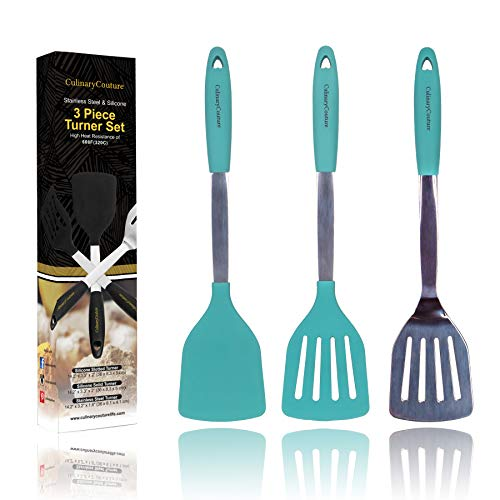 Aqua Sky Silicone Spatula Turner Set - Stainless Steel and Silicone Heat Resistant Kitchen Utensils - 608F - Grill Spatula Tools for BBQ - Egg and Pancake Flipper - Gift Box and Bonus Recipe Ebook