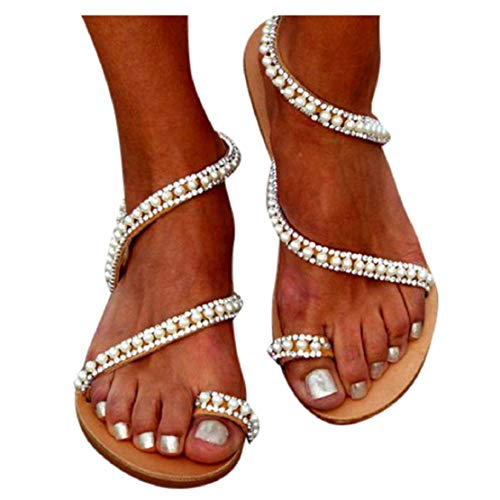 LowProfile Women's Pearl Gladiator Sandals Bohemian Jeweled Toe Ring Dress Shoes Bling Flat Shoes
