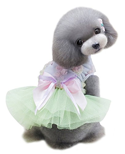 Costume Design Courses London - Freerun Pet Dog Floral Bowknot Tutu Skirt Dress Wedding Party Shirt Clothes Costume Apparel - Green, L
