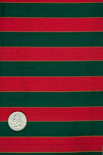 Red Green Striped Silk Shantung 442 Fabric ()