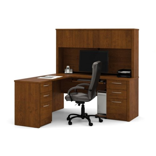 Bestar Office Space Corner - Bestar Office Furniture Embassy Collection Reversible L-Desk with Hutch, Tuscany Brown