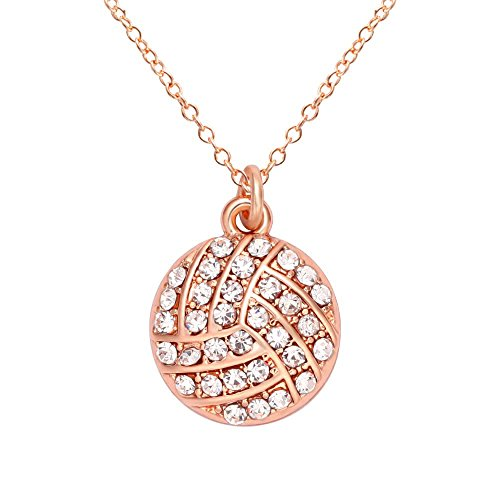 (SENFAI 10K Gold Plated Volleyball Pendant Necklace for Sports Enthusiasts 18