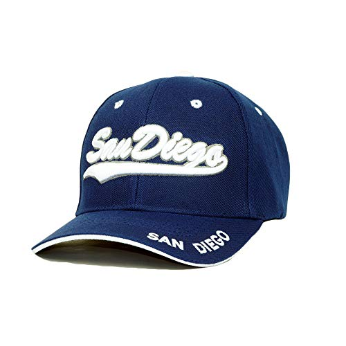 San Diego Embroidery Hat Adjustable City State 3D Logo Baseball Cap (Navy/White)