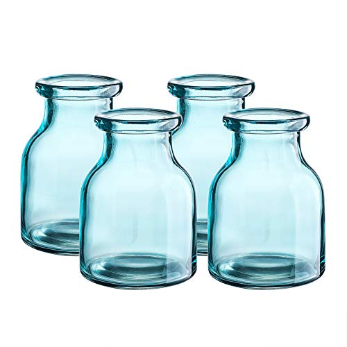 Blue Glass Vases (Whole Housewares Decorative Glass Vase 4.4X6 inch Light Blue 4)