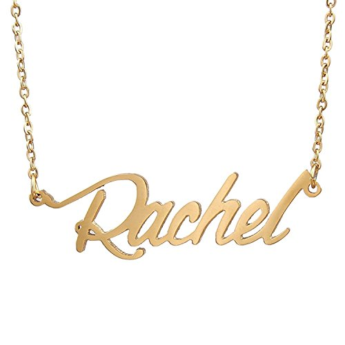 Huan XUN Gold Plated Custom Name Necklace Jewelry for Couples Lovers, Rachel