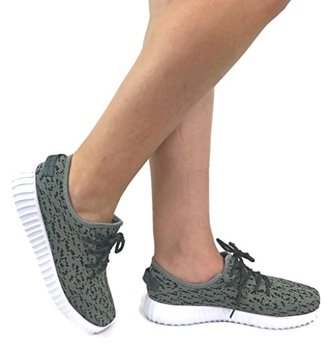 The Collection JILL Womens Athletic Shoes Casual Fashion Breathable Sports Sneakers, Grey Black, 8.5