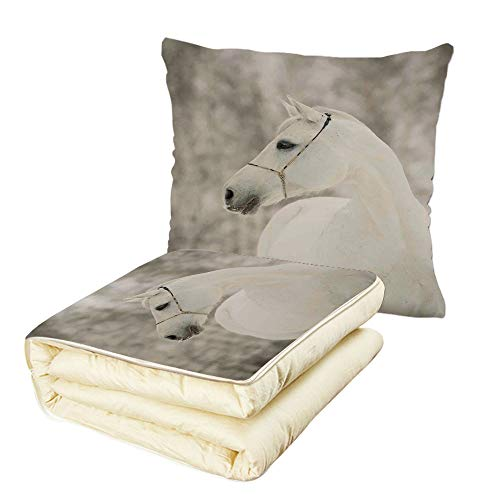 Quilt Dual-Use Pillow Black and White White Horse Head Face Portrait Winter Equestrian Purity Power Grace Symbol Decorative Multifunctional Air-Conditioning Quilt (Horse Head Luxury Chenille)