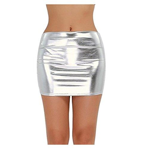 PVC Leather Shiny Dress Metallic Liquid Wet Look Micro Skirt (Silver) (Liquid Silver Dress)