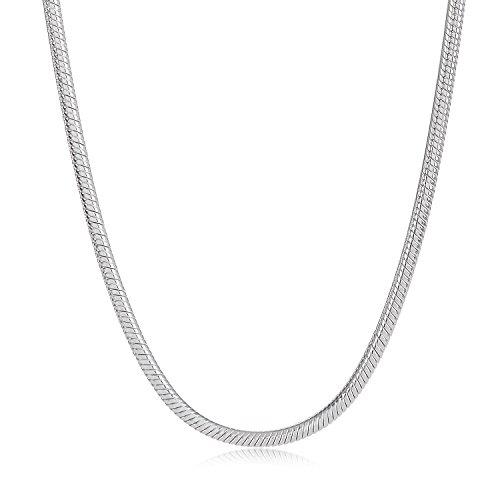 925 Silver Flat Snake Necklace Flat Snake Bracelet Set - 7
