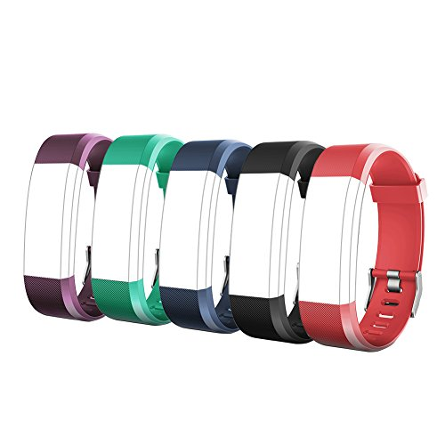 Letsfit ID115Plus HR Replacement Bands, Adjustable Accessory Bands for Fitness Tracker ID115Plus HR, 5 Pack (Black, Blue, Purple, Red, Green) by Letsfit