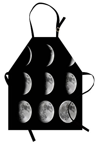 (Lunarable Moon Phases Apron, Phases of The Moon from New to Full Lunar Sequence Stages Space Universe, Unisex Kitchen Bib Apron with Adjustable Neck for Cooking Baking Gardening, Grey Black )