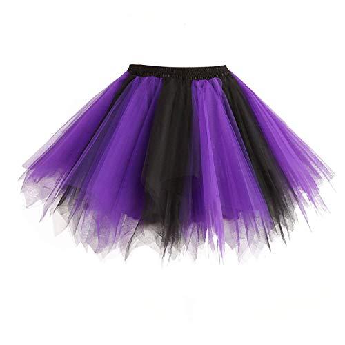 Dresstore Women's Short Vintage Petticoat Skirt Ballet Bubble Tutu Multi-Colored Black-Purple S/M