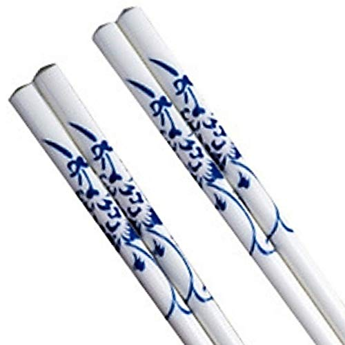 LeBlue 2 Pairs Blue and White Bone China Chinese Reusable Dishwasher Safe Chopsticks GIFT SET