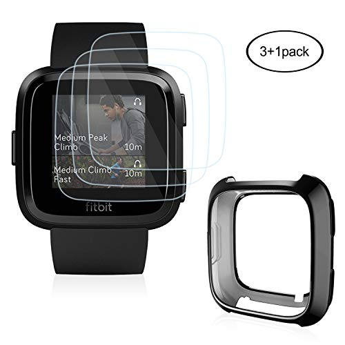 [3+1 Pack] Screen Protector Protector Case Compatible for Fitbit Versa, AISITIN Soft Protective Case(Plated Black), Anti-Scratch Tempered Glass Screen Protector Compatible for Fitbit Versa Smartwatc