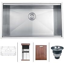 Ruvati RVH8300 Undermount Ledge 16 Gauge 32? Kitchen Sink Single Bowl
