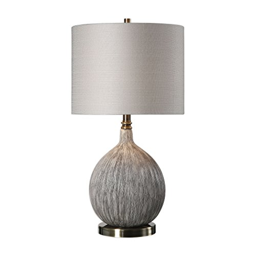 Uttermost 27715-1 Uttermost Hedera Textured Ivory Table - Lamp Hudson Table Transitional