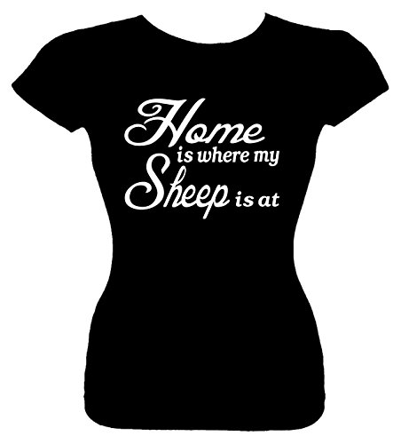Price comparison product image Junior's Size S T-Shirt (Home is where my Sheep is at) Fitted Girls Shirt