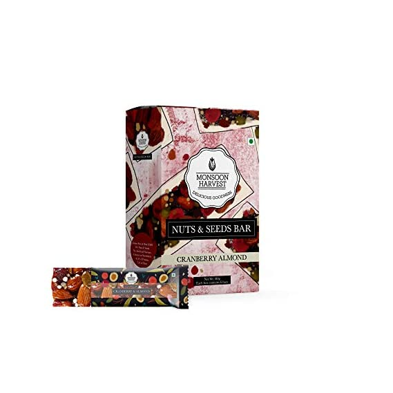 Monsoon Harvest Nuts & Seeds Energy Bars - Cranberry & Almond - 180 g (Pack of 6 x 30g), Healthy Snack Bars