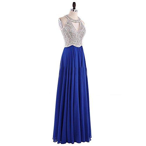 Annies Mariée Robe De Bal De Demoiselle D'honneur Robe De Mousseline Perlée Licol Robe De Soirée Bleu Ligne