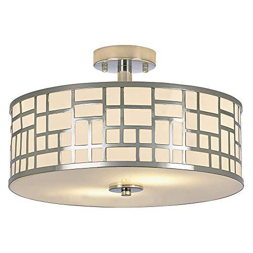 - SOTTAE 2 Lights Elegant Modern Chrome Finish Glass Diffuser Livingroom Bedroom Flush Mount Ceiling Light,Led Ceiling Light Fixture(15.74