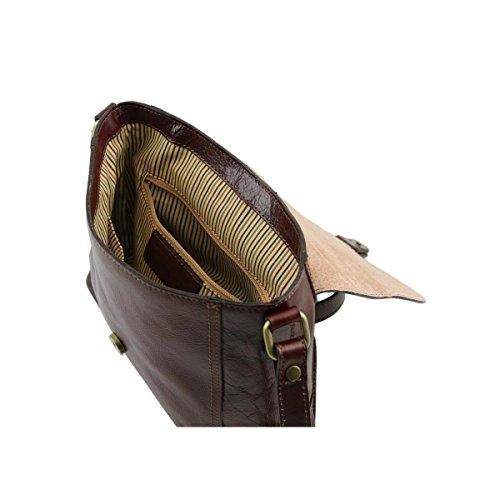 Tuscany Leather - Jody - Bolso con badolera y tapa Rojo - TL141278/4 Miel