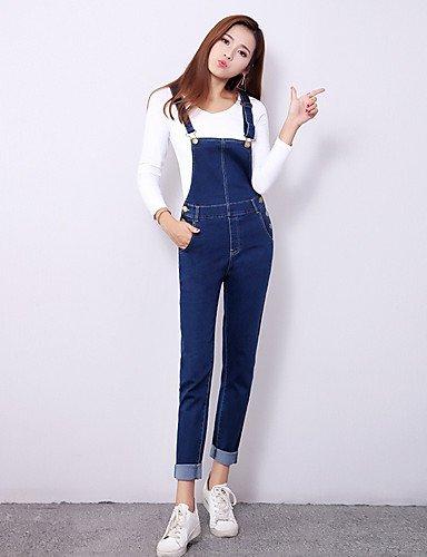 TT&NIUZAIKU Damen Einfach Niedlich Mittlere Hüfthöhe Mikro-elastisch Jeans Hose, Baumwolle Frühling Solide, Blau, l