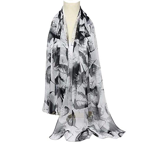 Scarfs for Women Lightweight Print Floral Pattern Scarf Shawl Fashion Scarves Sunscreen Shawls (Leaves&Black White)