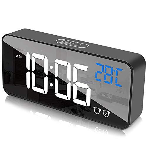 Nrpfell Reloj Despertador Digital para Dormitorios Pantalla LED ...