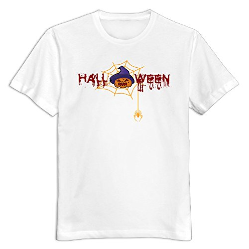Maquic78h Men's Happy Halloween Day 100% Cotton O Neck T-Shirt White US Size XXL