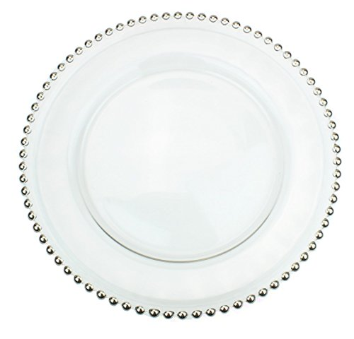 Beaded Dinner - Clear Glass Charger 12.6 Inch Dinner Plate With Beaded Rim - Set of 4 - Silver