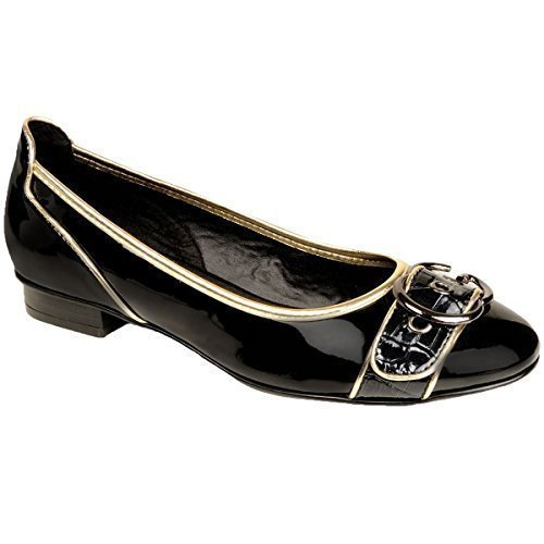 ZAFIRO Mujer Tacón Bajo DORADO BORDE PLATEADO CHAROL Brillante Delantero Hebilla mujer Zapatos Planos Negro