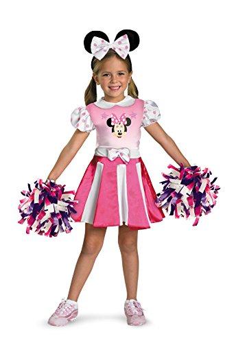 Girls Minnie Mouse Cheerleader Kids Child Fancy Dress Party Halloween Costume, S (4-6) ()