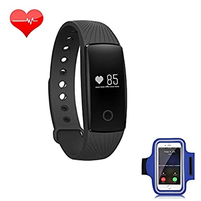 RIVERSONG (TM) Wave Fitness Tracker With Continuous Heart Rate Monitor with Armband Touching Cover