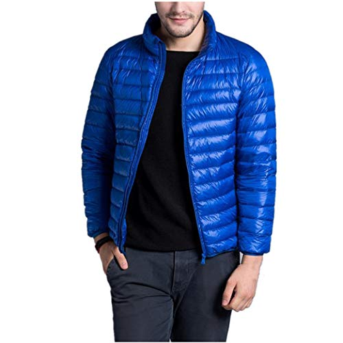 Slim Winter Jacket Warm Men Short Ultra Fashion Light zhbotaolang Coat Fit Blue FqxwXZTU