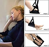 Airplane footrest - Carry-on Adjustable Height footrests,Long Trips Travel Accessories Portable Foot Hammock for Flight Bus Train Office Home,Reduce Swelling Soreness Rest Hammock (Black)