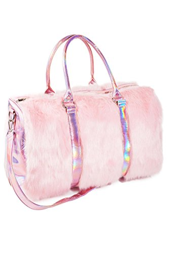 Leather Bag Fur - Marchome Pink Faux Fur Holographic Leather Bag for Women and Girls Backpack Luggage Bag