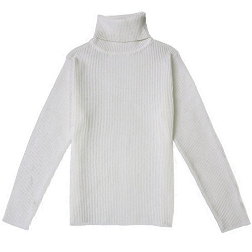 Little Baby Turtleneck Long Sleeve Sweater Basic Solid Fine Knit Warm Sweatshirt Pullover Base Tops (2-3 Years, White) (Basic Fine Knit)