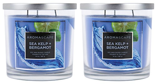 Aromascape 3-Wick Scented Jar Candle, Sea Kelp and Bergamot, 2-Count