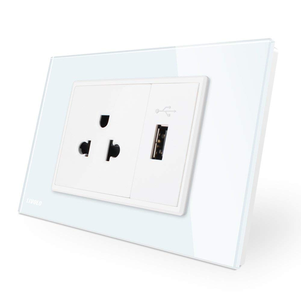 LIVOLO White AU/US Standard, US Socket& 1 Gang USB Socket, 110-250V, 119mm*78mm, CA-C9C1US1U-11