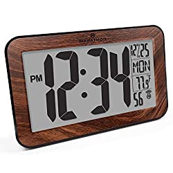 Marathon CL030033WD Commercial Grade Panoramic Atomic Wall Clock with Table Stand - Batteries Included (Wood Grain Finish)