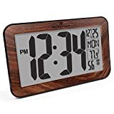 rectangular wall clocks Marathon CL030033WD Commercial Grade Panoramic Atomic Wall Clock with Table Stand - Batteries Included, Color-Wood Tone.