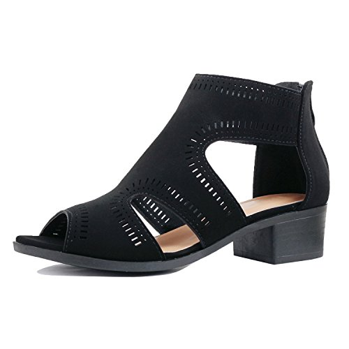 Guilty Heart Women Comfortable Cut Out Low Block Heel Summer Walking Sandals, Blackv2 Pu, 8.5 B(M) (Pu Womens Fashion Sandals)