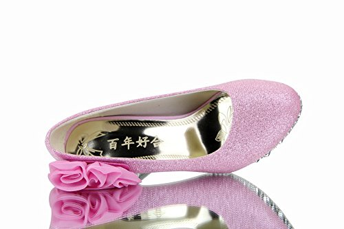 Allhqfashion Womens Shiny Pumps Pull-on Pumps Schoenen Met Bloemen, Pinkhxff5, 40