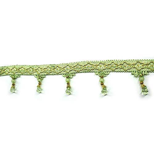 MOPOLIS Vintage Crystal Bead Teardrop Beaded Trimming Fringe Sewing DIY Trim Craft 1M | color - Pea green