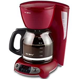 Mr. Coffee TFX26 12-Cup Programmable Coffeemaker, Red